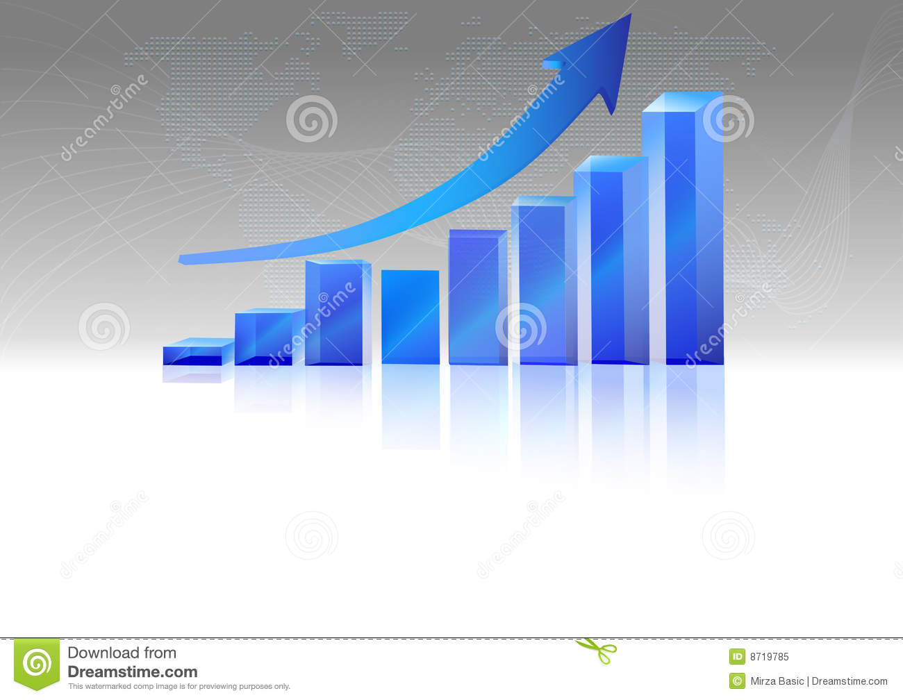 Vector Of Rising Bar Chart With Arrow Above Royalty Free