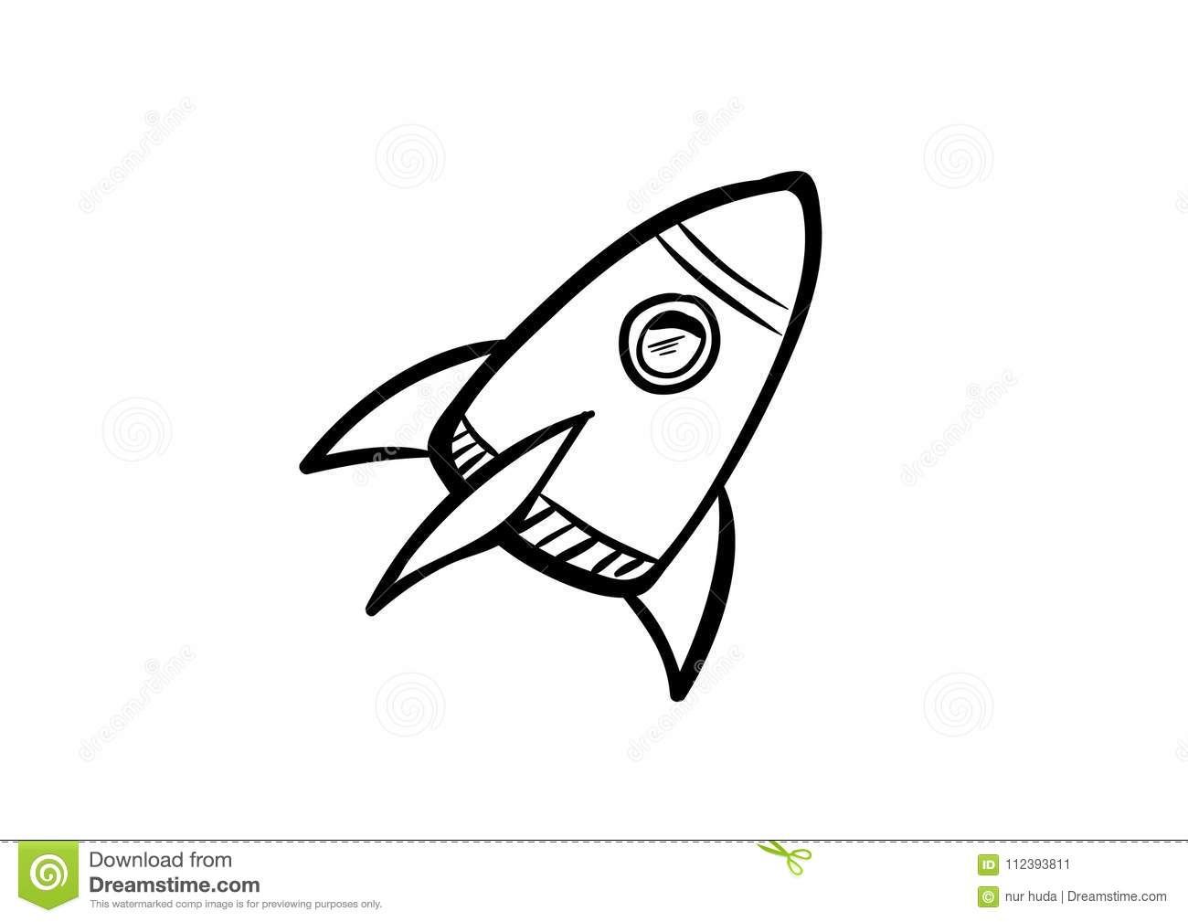 Vector Rocket Icon With Doodle Style Stock Vector