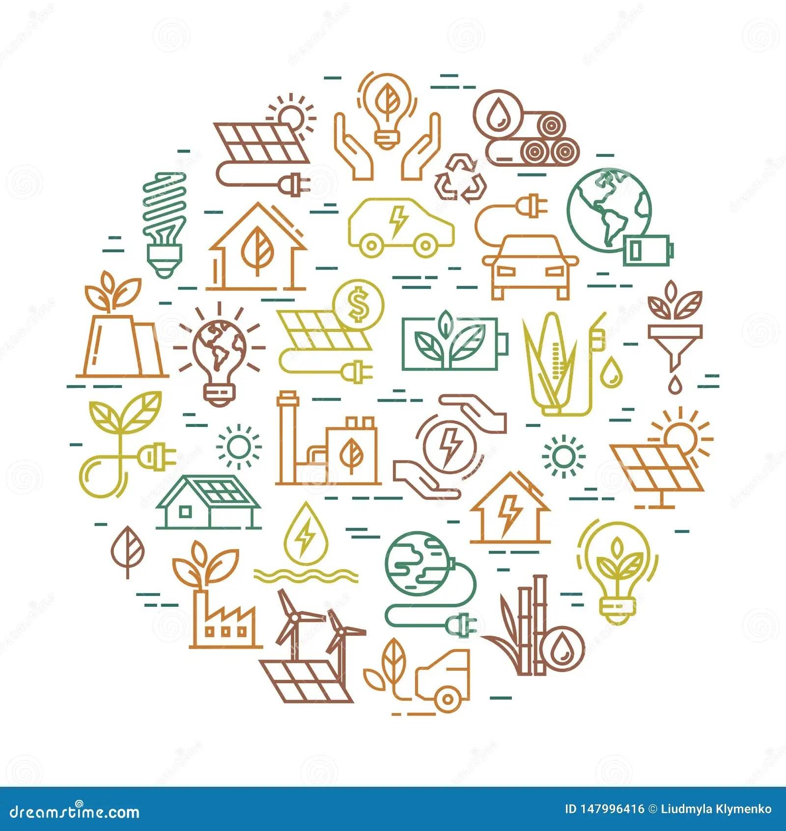 Vector Round Creative Alternative Energy Sources Sign