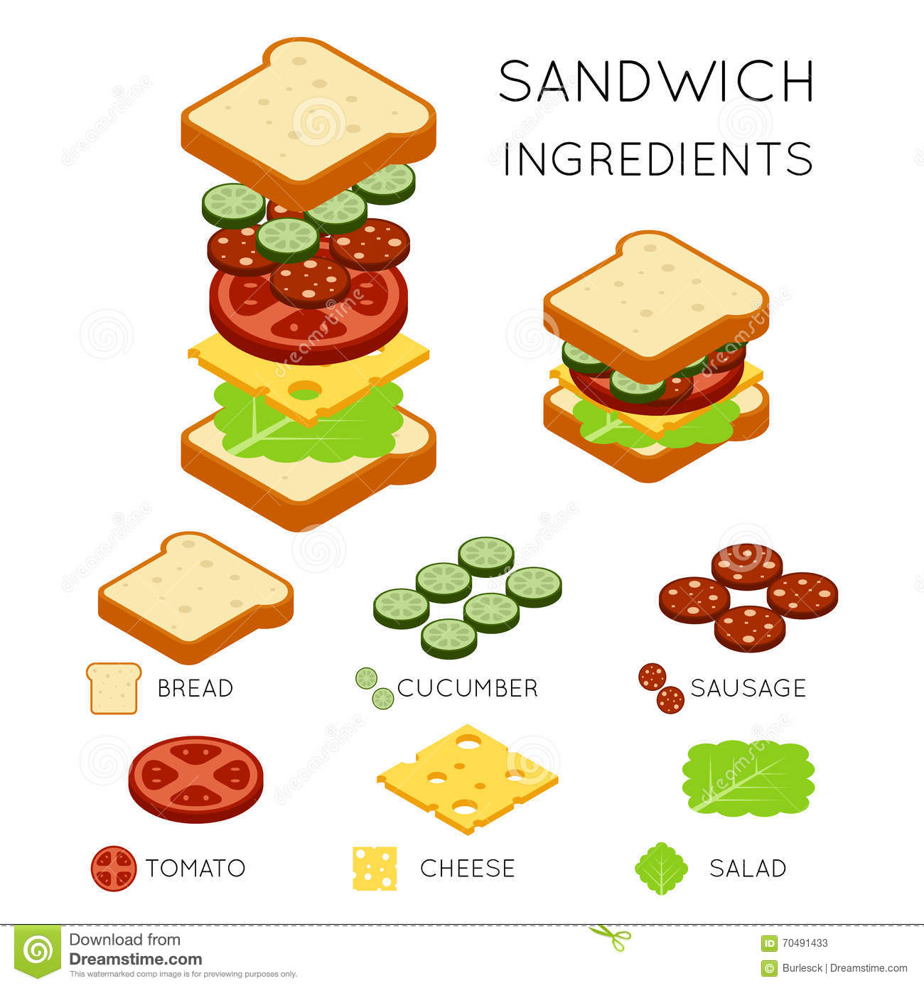 Vector Sandwich Ingre Nts In 3d Isometric Style Stock