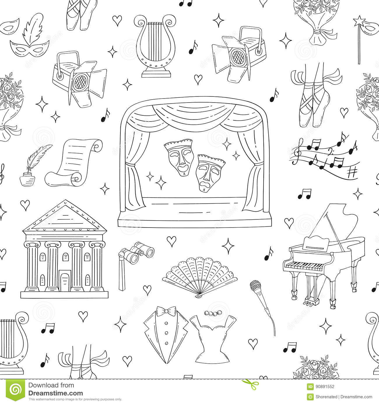 Vector Seamless Background With Theater Symbols Stock
