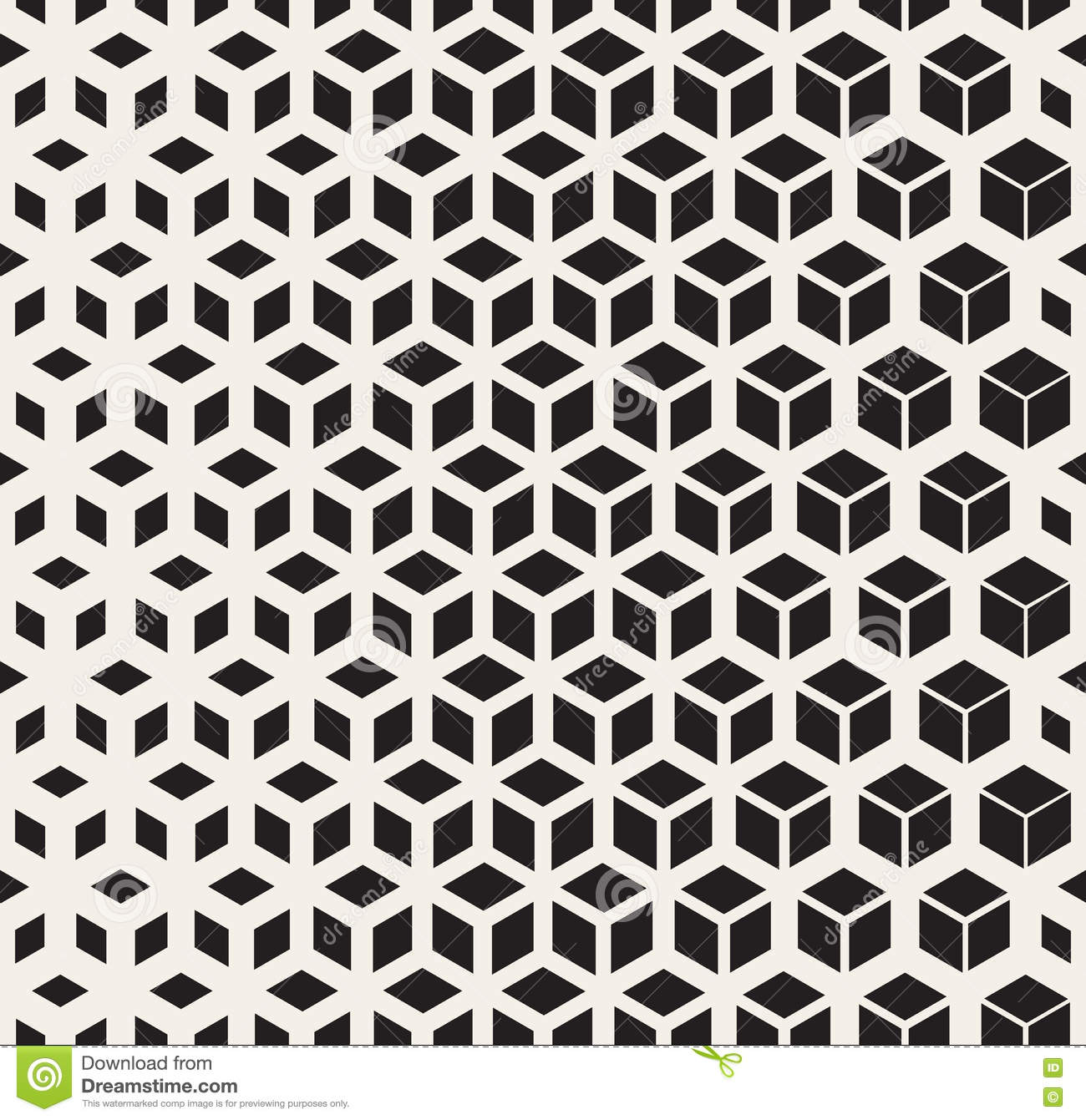 Vector Seamless Black And White Geometric Cube Shape Lines Halftone Grid Pattern Stock