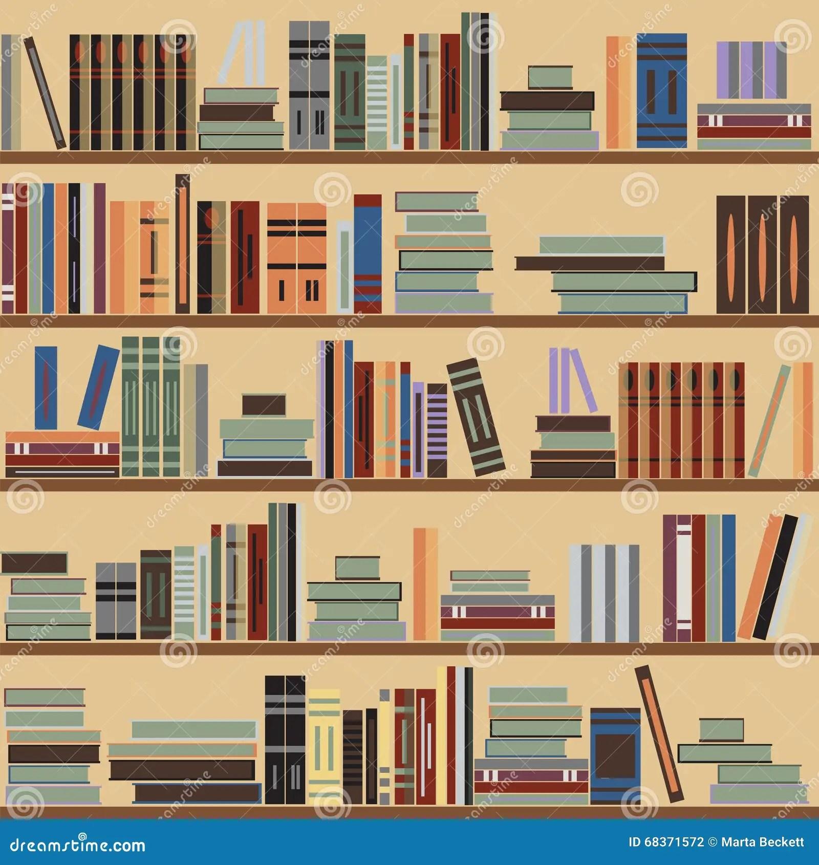 Wallpaper Falling Off Wall Vector Seamless Bookshelf Pattern Random Books On Shelves