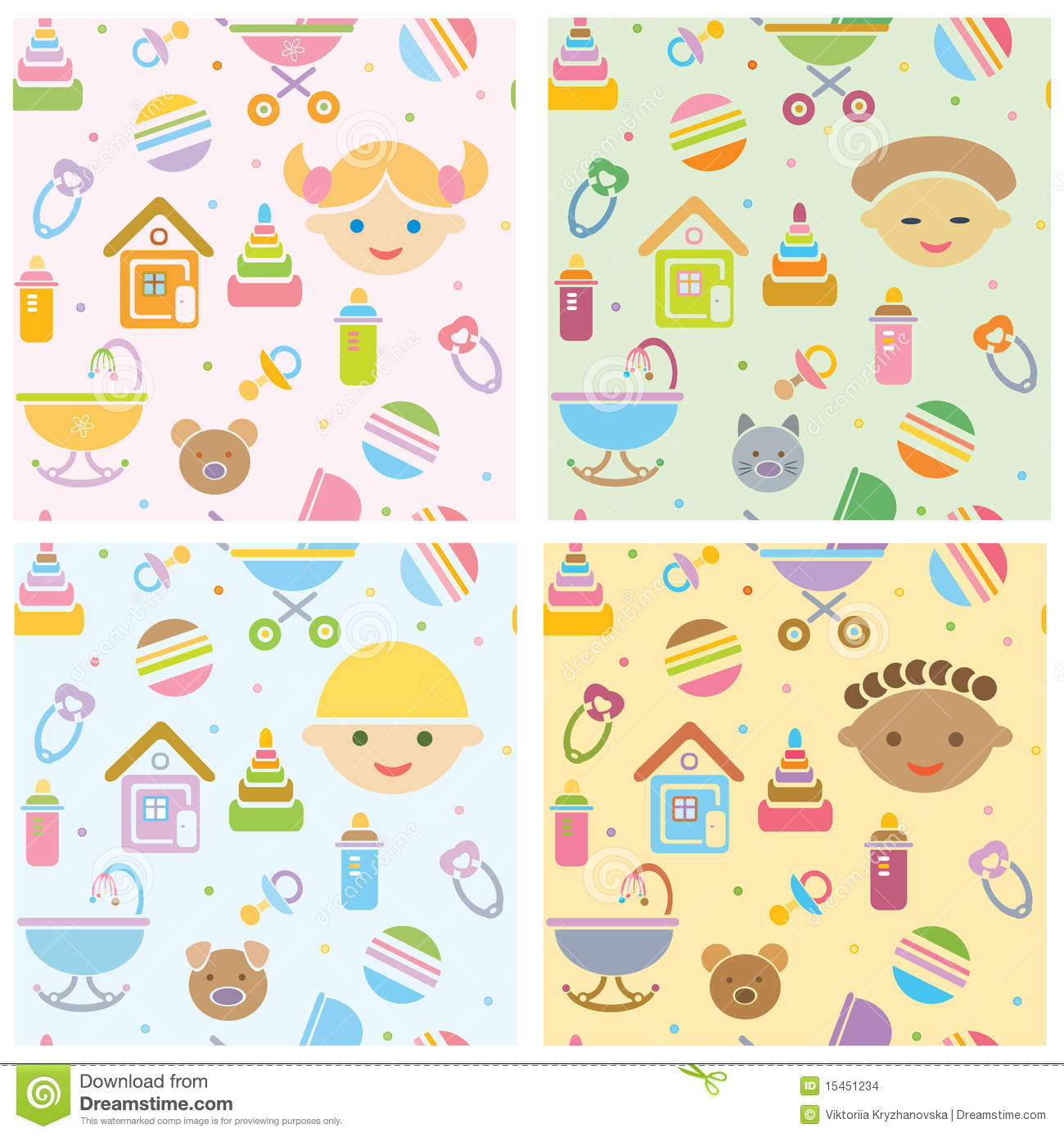 Cute Boy Babies Wallpapers Free Download Vector Seamless Fun Baby Patterns Babies Differ Stock