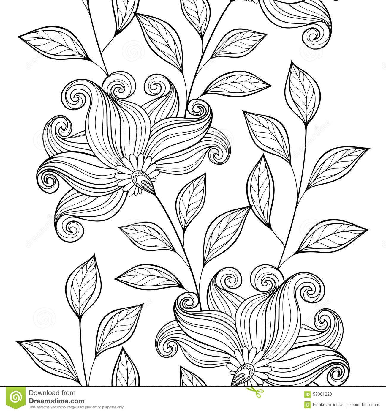 Vector Seamless Monochrome Floral Pattern Stock Vector