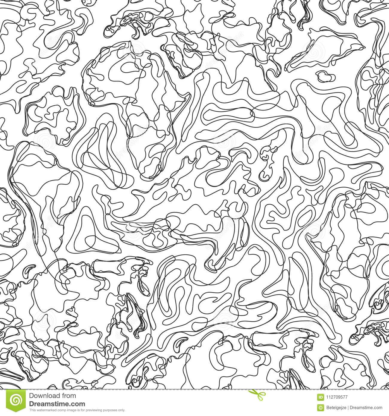 Vector Seamless Pattern With Abstract Contour Topographic