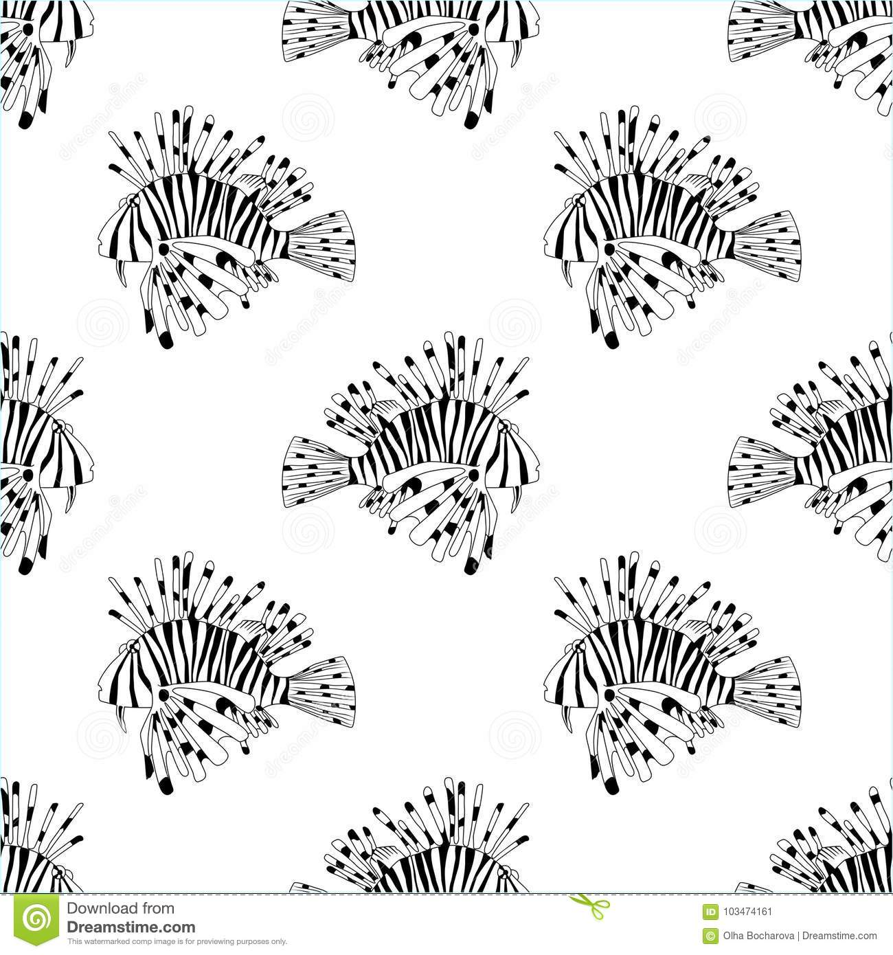 Black And White Seamless Pattern For Coloring Book Sea