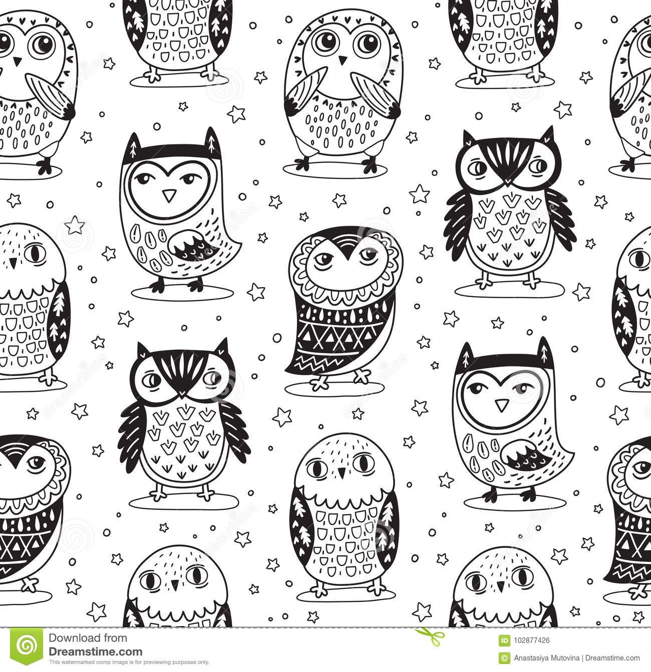 Vector Seamless Pattern With Cartoon Owls In Outline