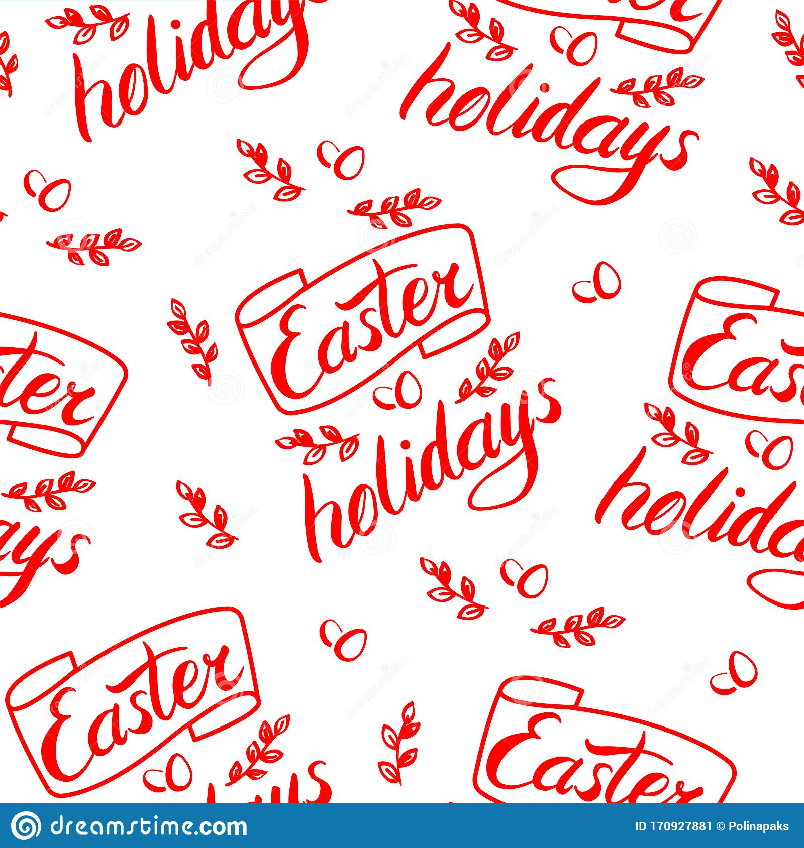Vector Seamless Pattern Easter Holidays Title Lettering