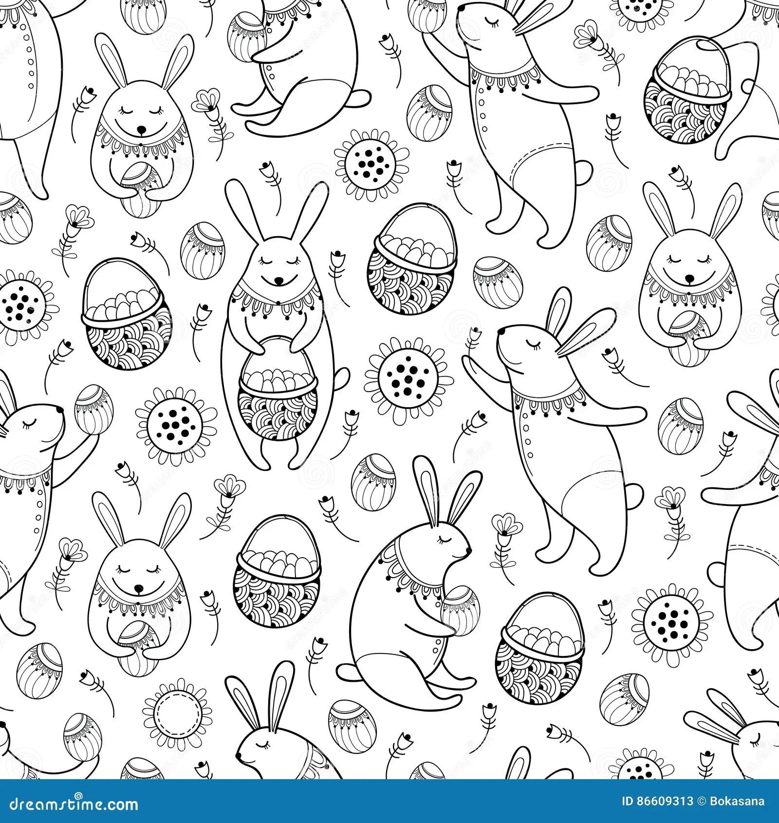 Happy Easter Background With Cartoon Cute Bunny Cartoon