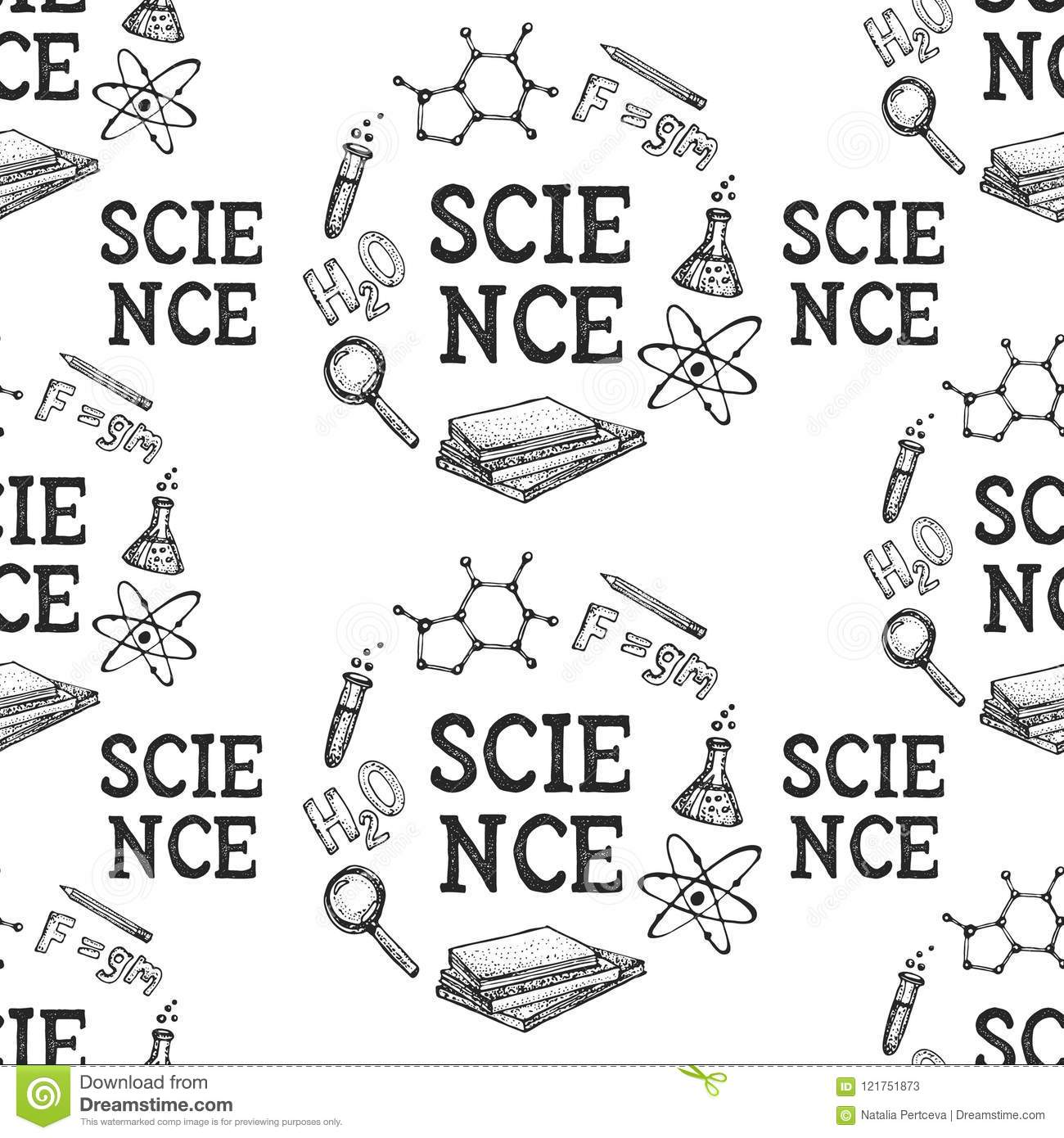 Vector Seamless Pattern Of Physics And Chemistry Science