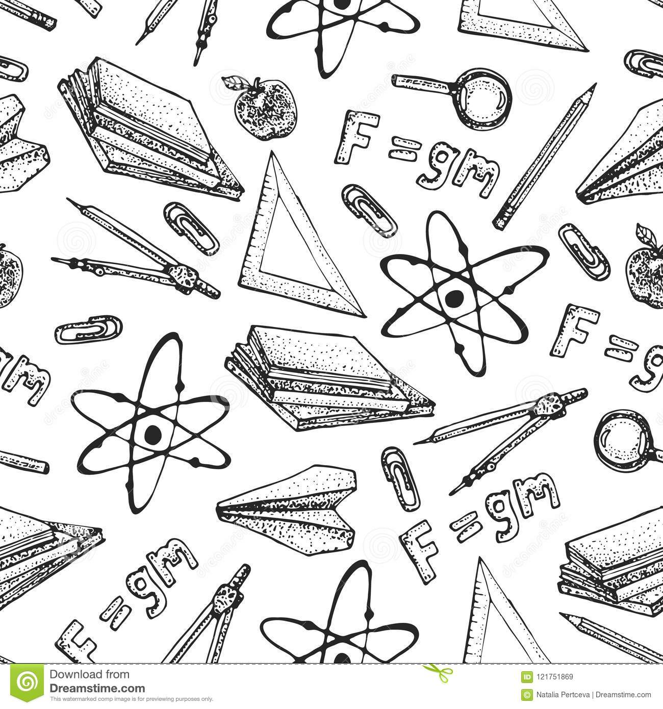 Vector Seamless Pattern Of Physics Science Theory And