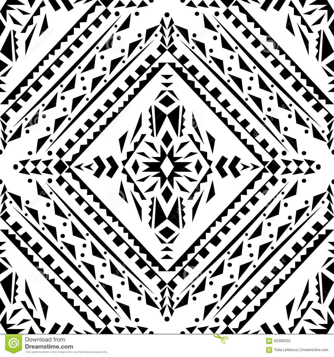 Vector Seamless Texture. Black And White Tribal Geometric