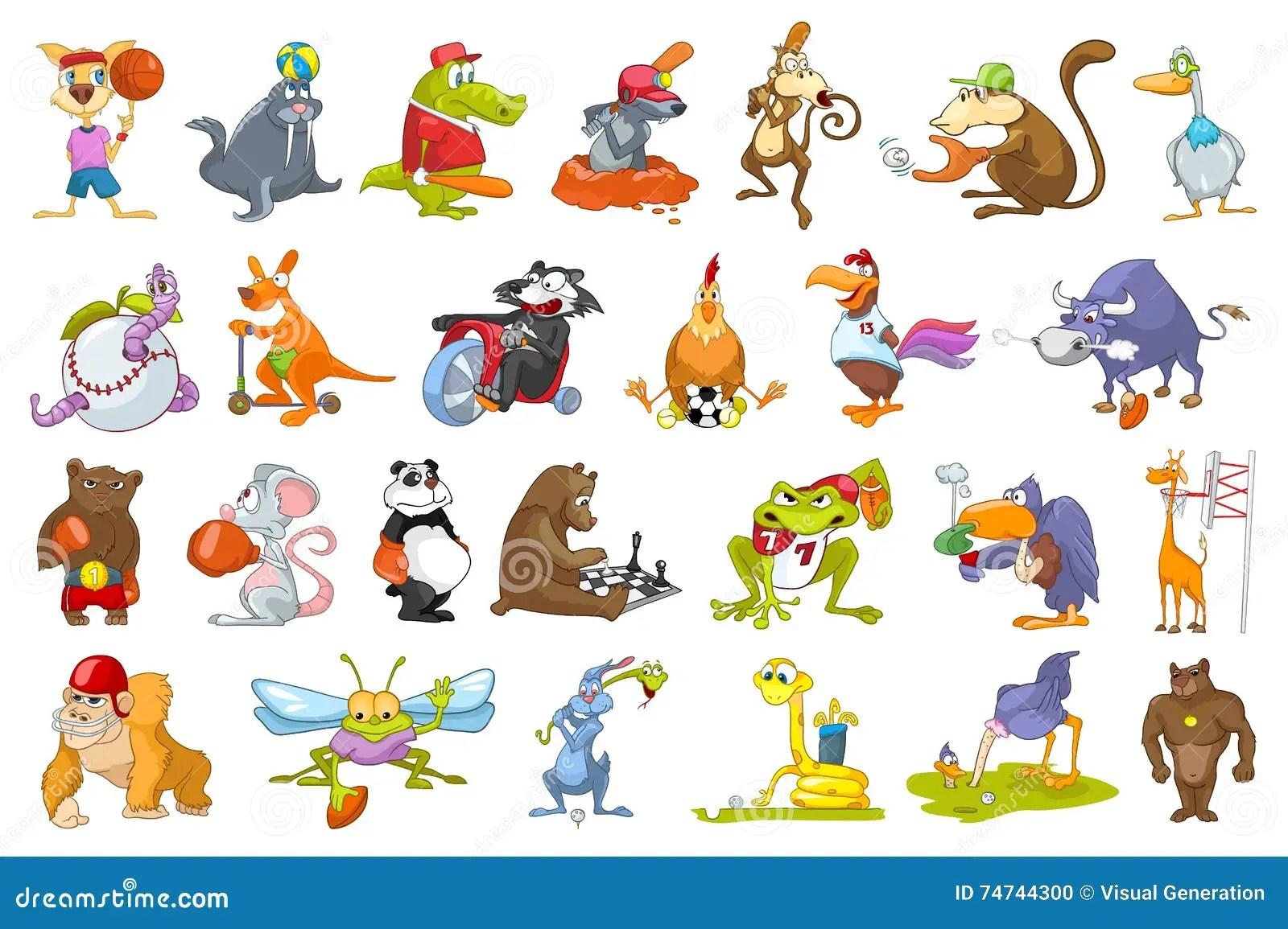 Vector Set Of Animals Sport Illustrations Stock Vector