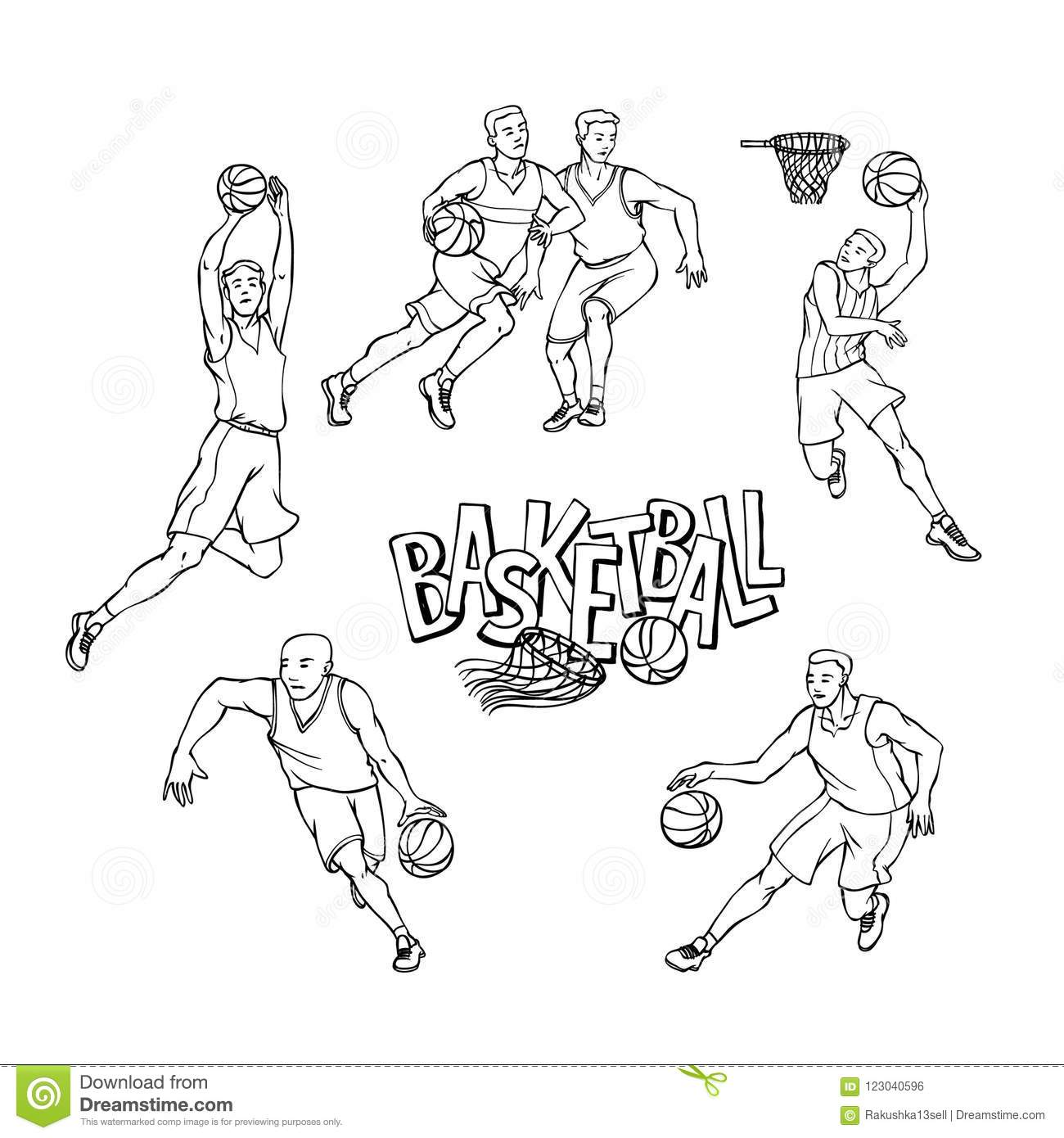 Set Of Different Sports Players In Action. Royalty-Free