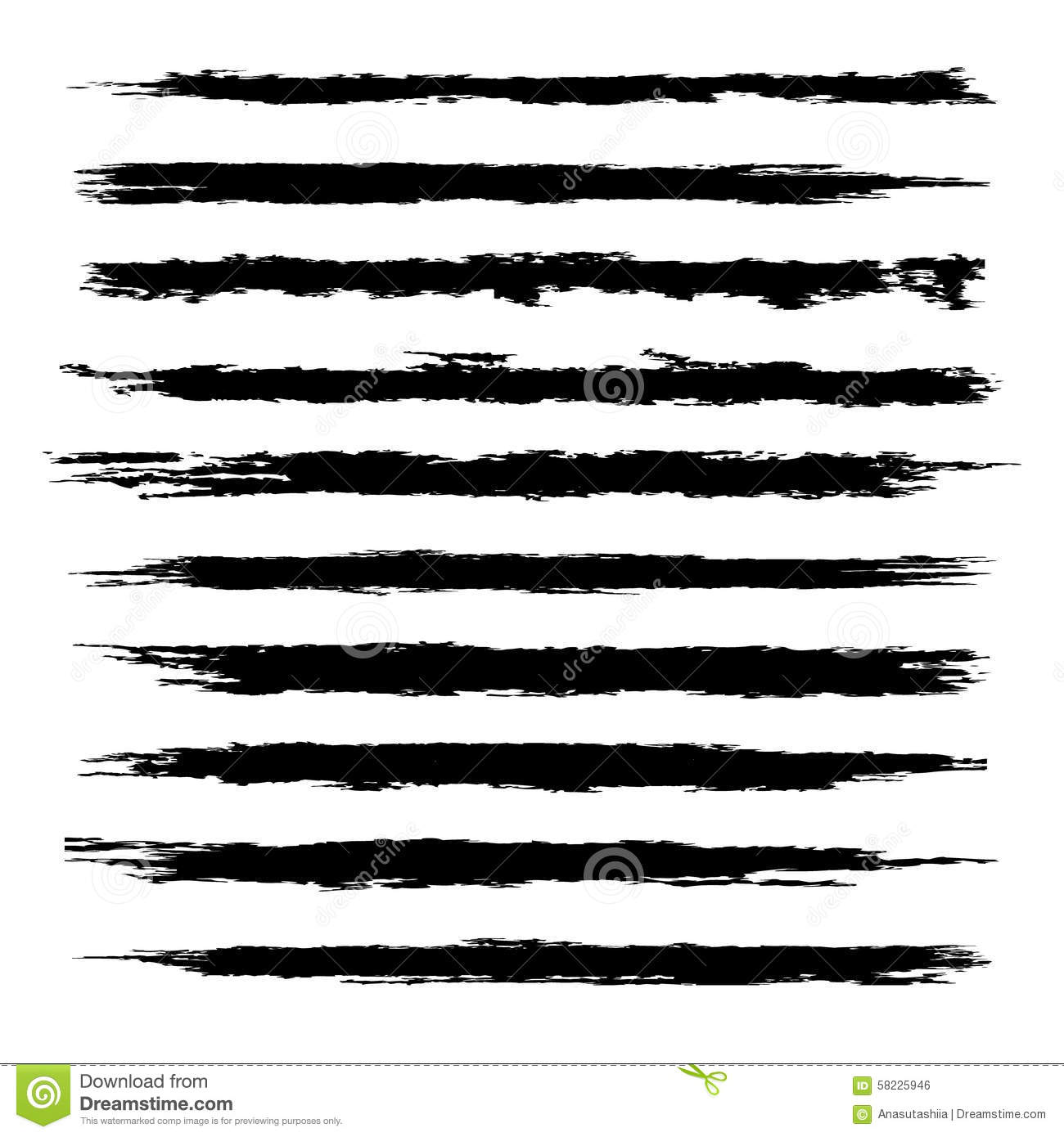 Vector Set Of Black Brushes Stock Vector
