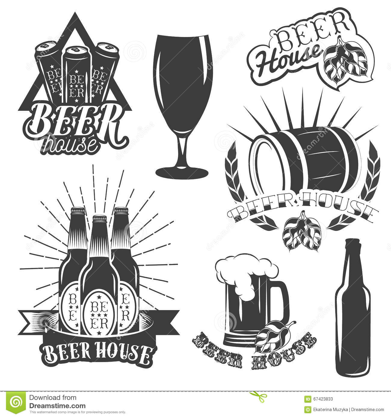 Vector Set Of Brewing Labels In Vintage Style Pub And
