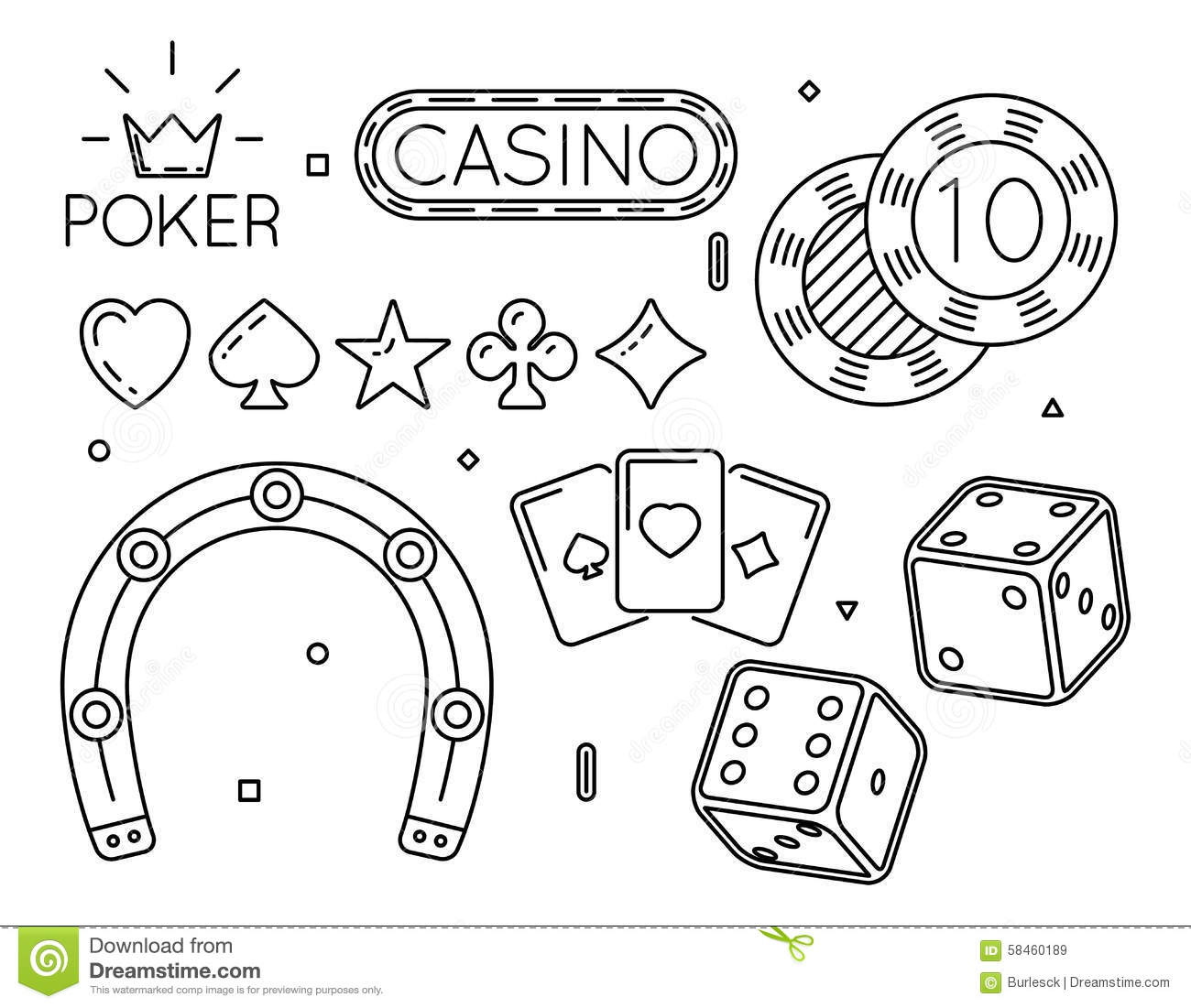 Vector Set Of And Club Line Icons Stock