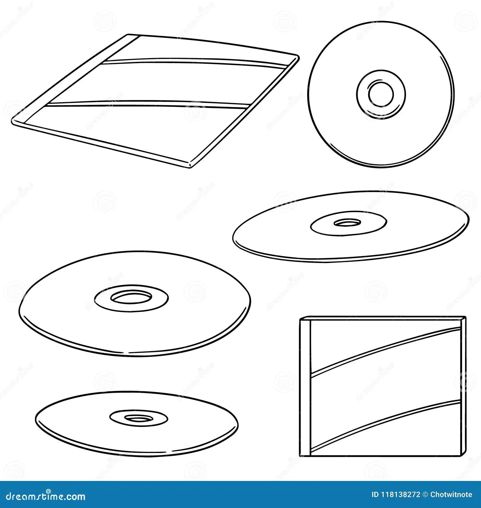 hight resolution of vector set of cd dvd