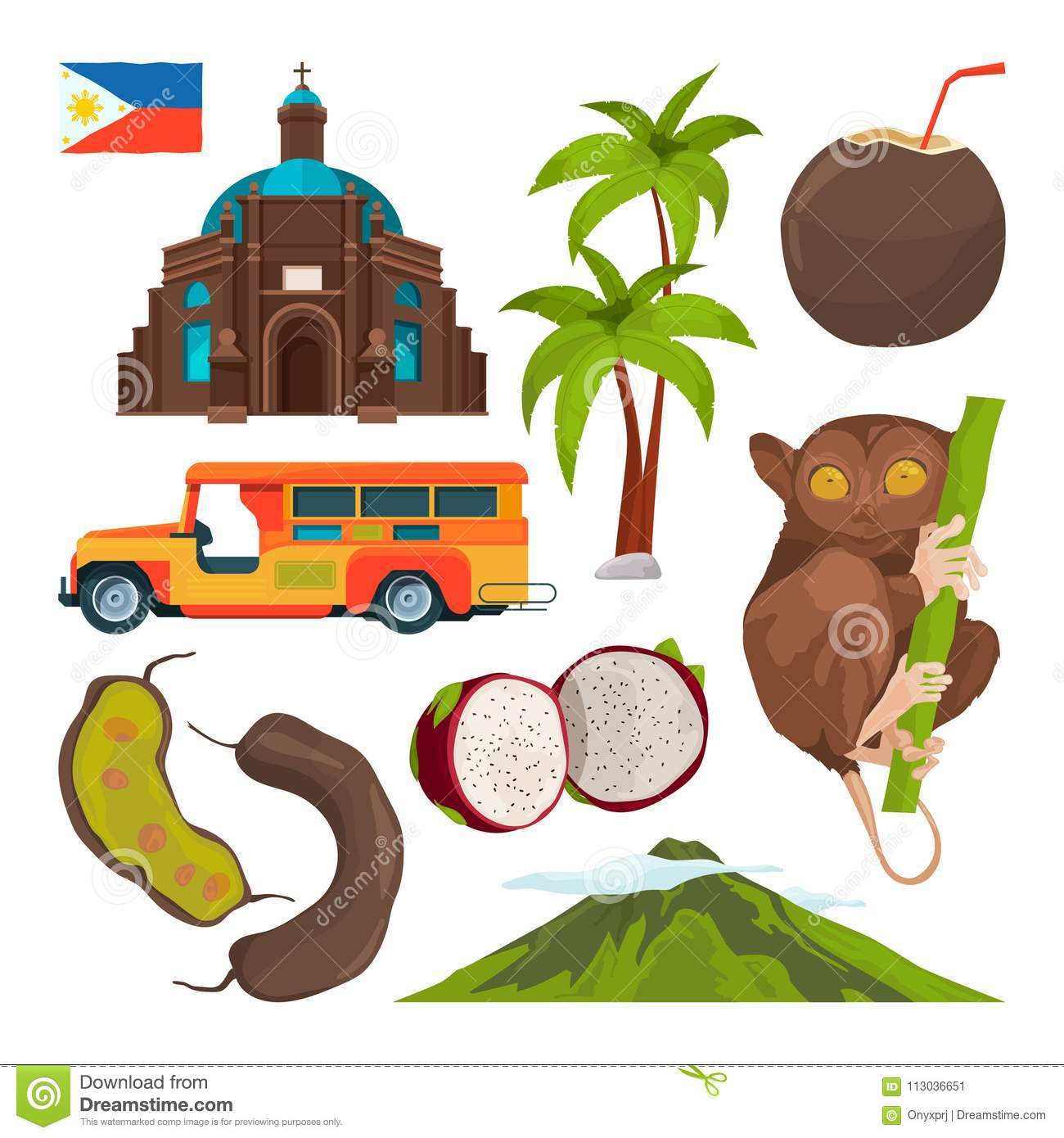 Vector Set Of Colored Symbols Of Philippines Stock Vector