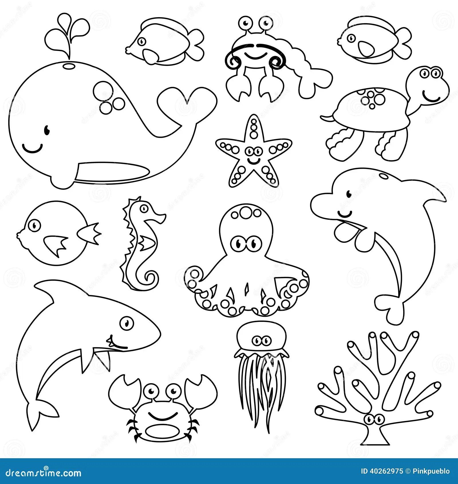 Vector Set Of Cute Sea Creature Line Art Stock Vector