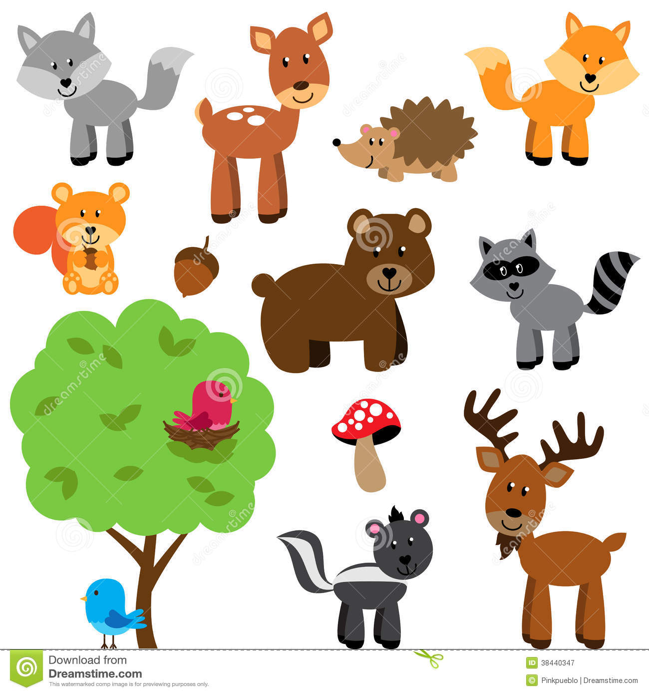 Fall Deer And Farm Scene Wallpaper Border Vector Set Of Cute Woodland And Forest Animals Cartoon