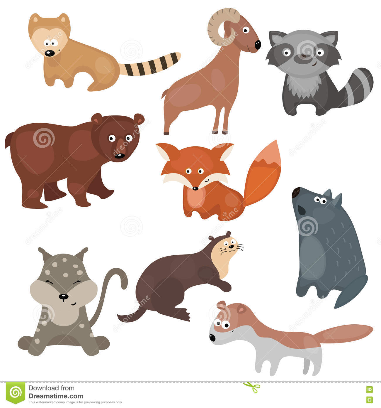 Vector Set Of Different Animals Of North America Stock