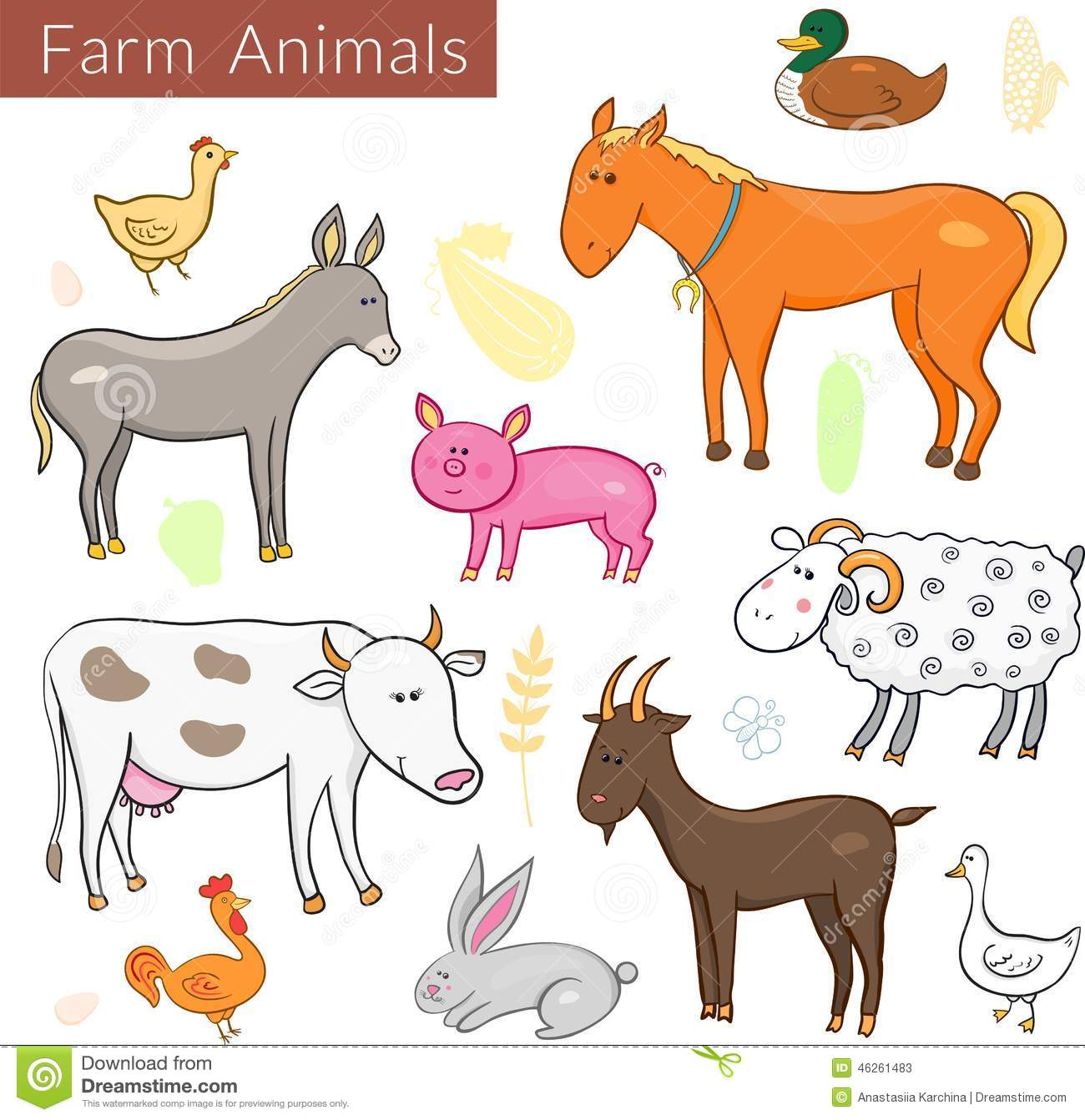 Vector Set Of Different Colorful Farm Animals Stock Vector