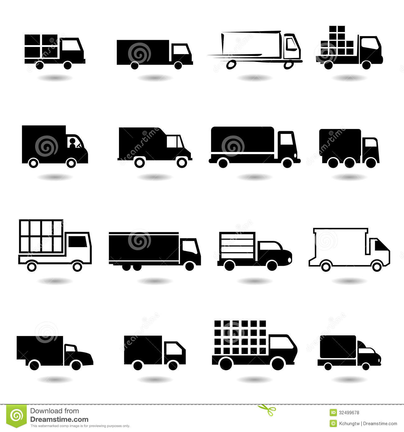 Vector Set Of Different Truck Icons Stock Vector