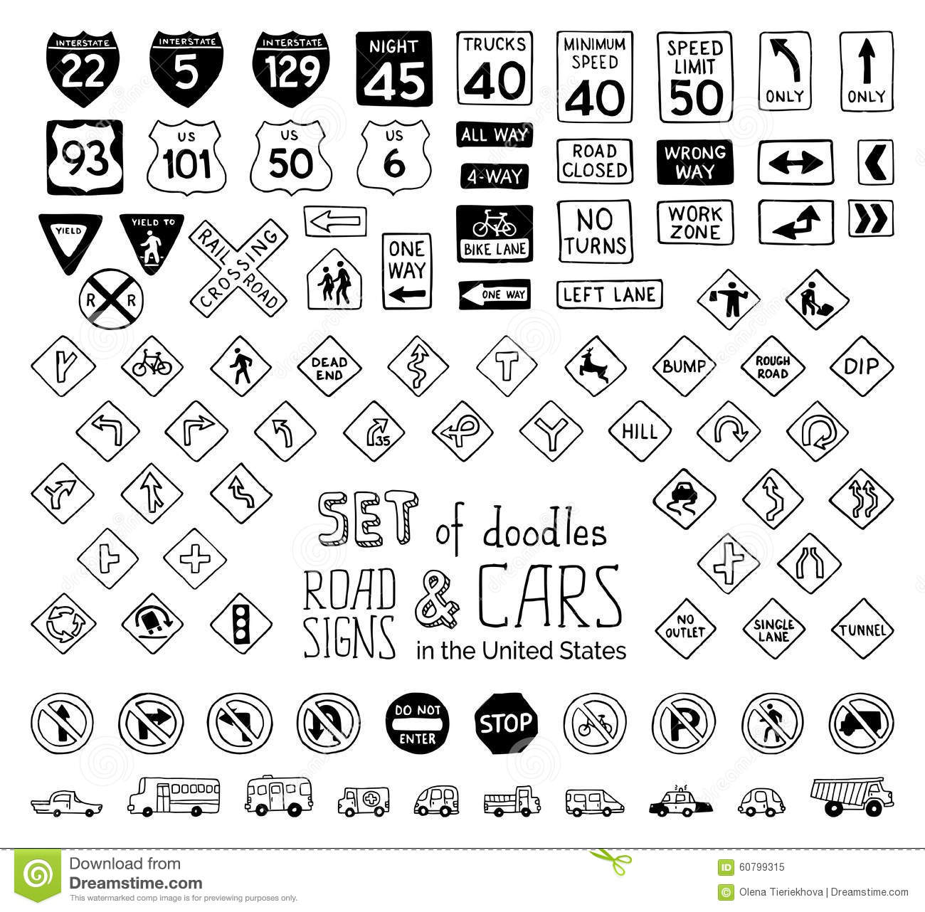 Vector Set Of Doodles Road Signs In The United States And