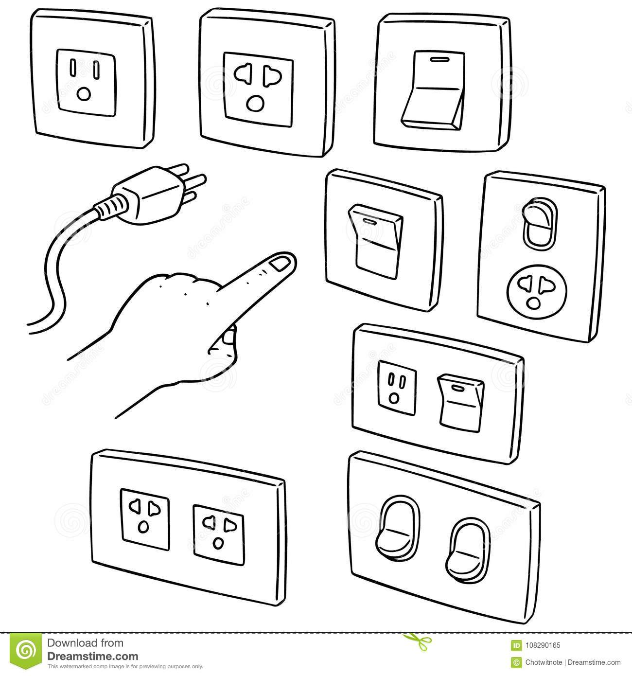 Vector Set Of Electric Switch And Plug Stock Vector