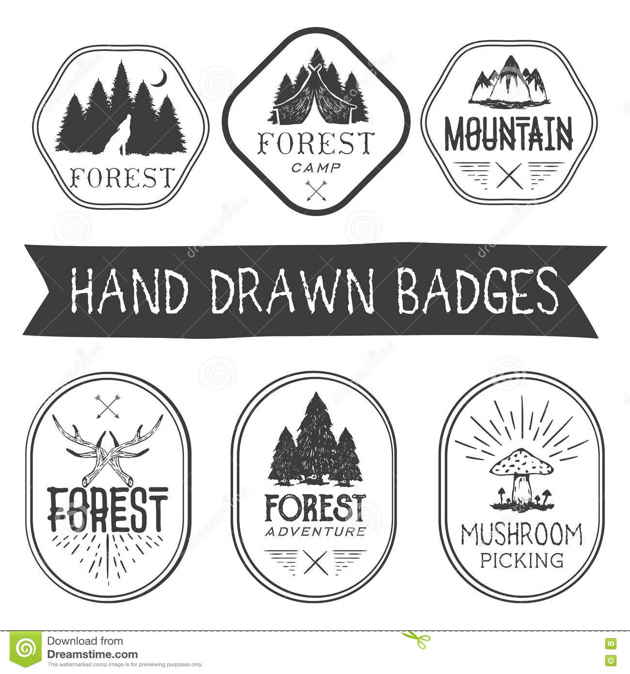 Vector Set Of Hand Drawn Forest Camp Labels In Vintage