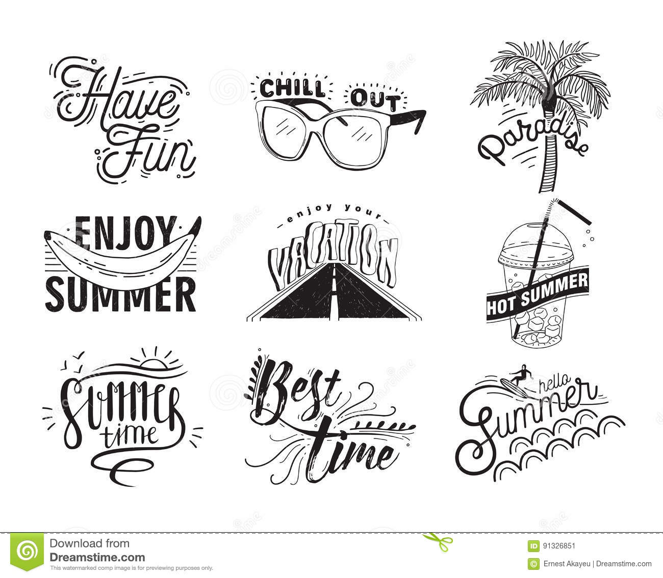 Vector Set Of Hand Drawn Lettering With Inscriptions Enjoy