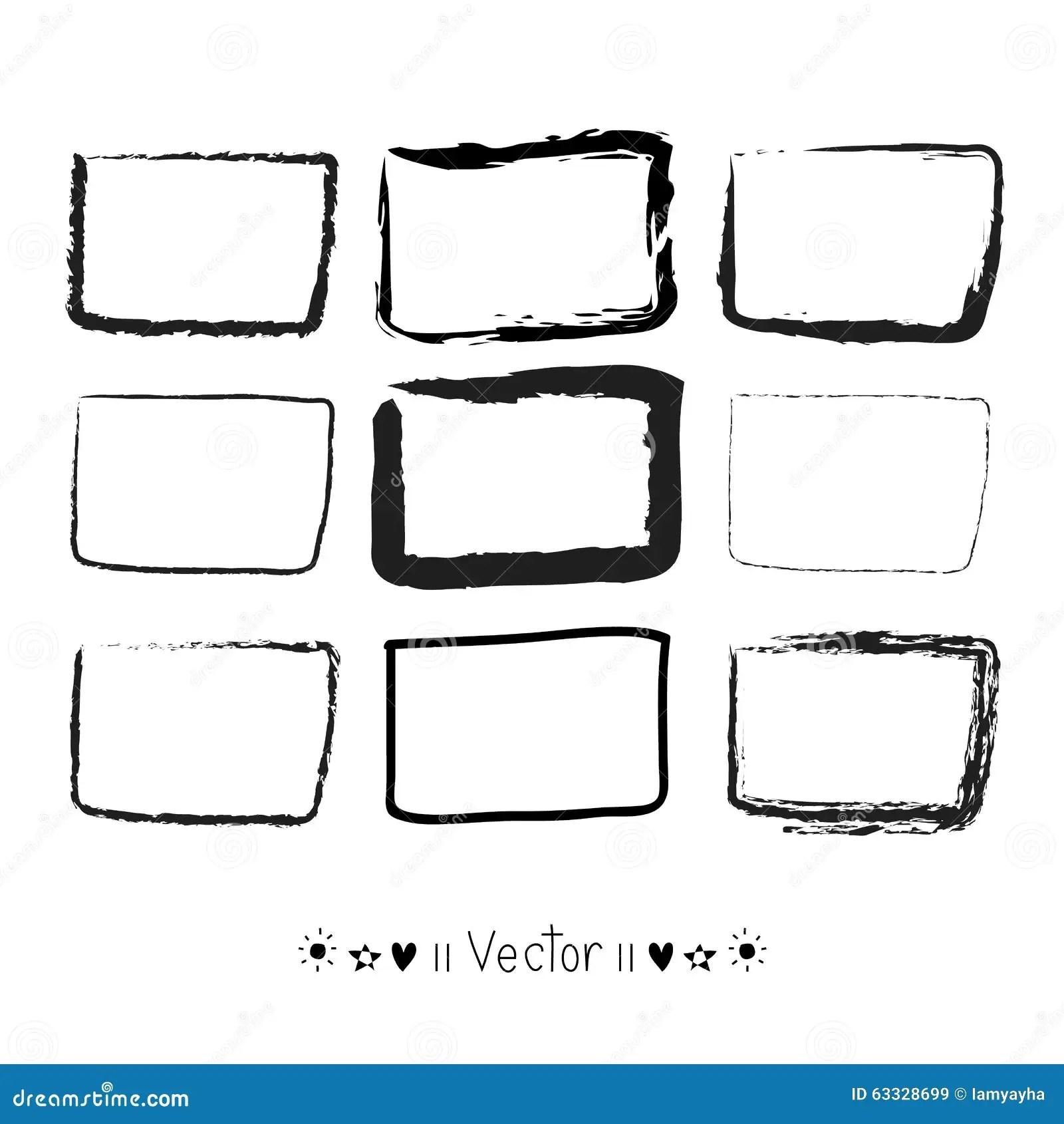 Vector Set Hand Drawn Rectangle Felt Tip Pen Objects