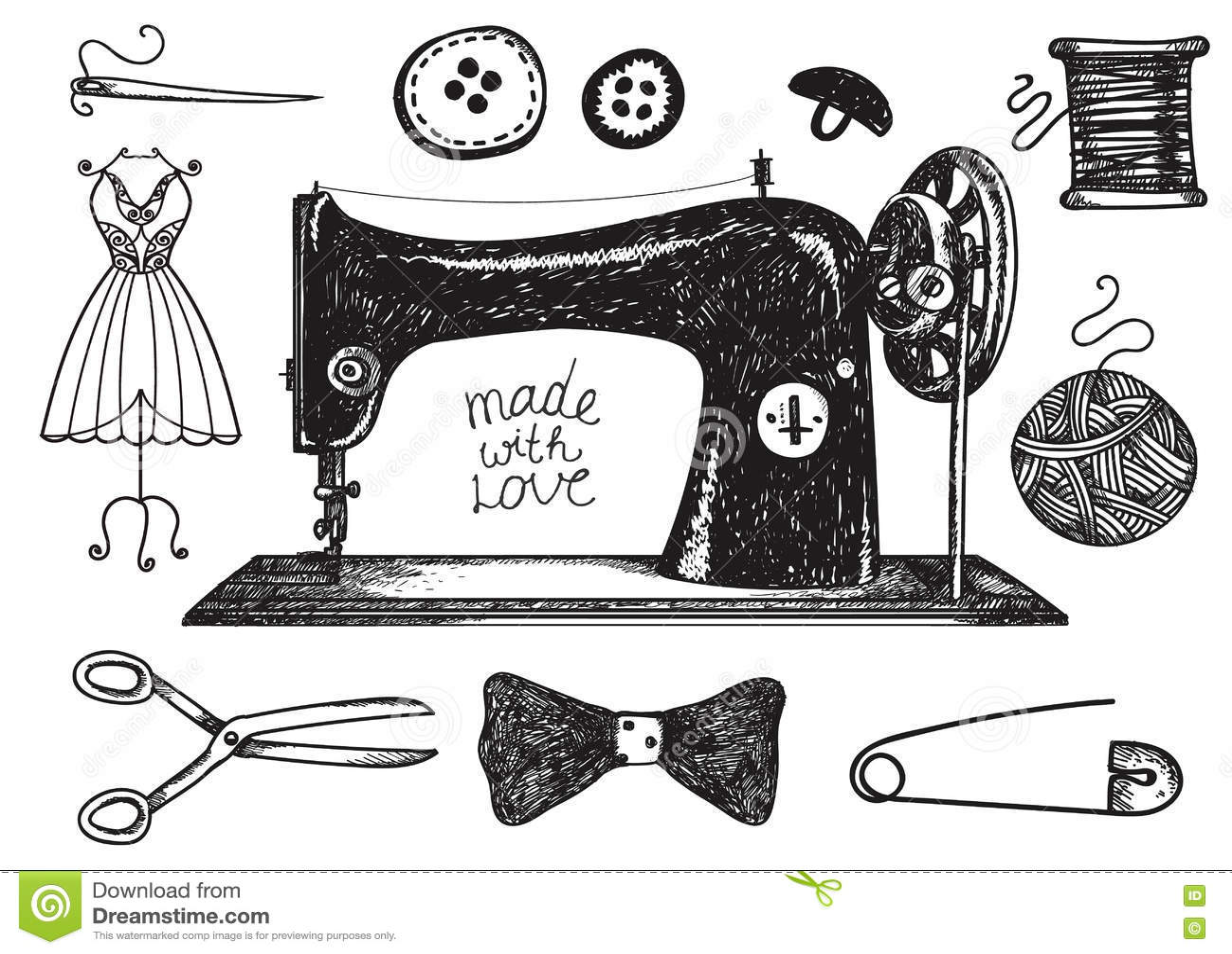 Vector Sewing Supplies Silhouette. Cartoon Vector