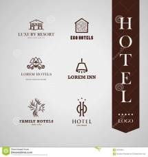 Vector Set Of Hotel And Resort Logo Design. Stock