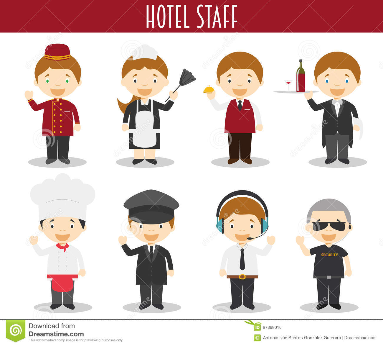 Vector Set Of Hotel Staff Professions Stock Vector