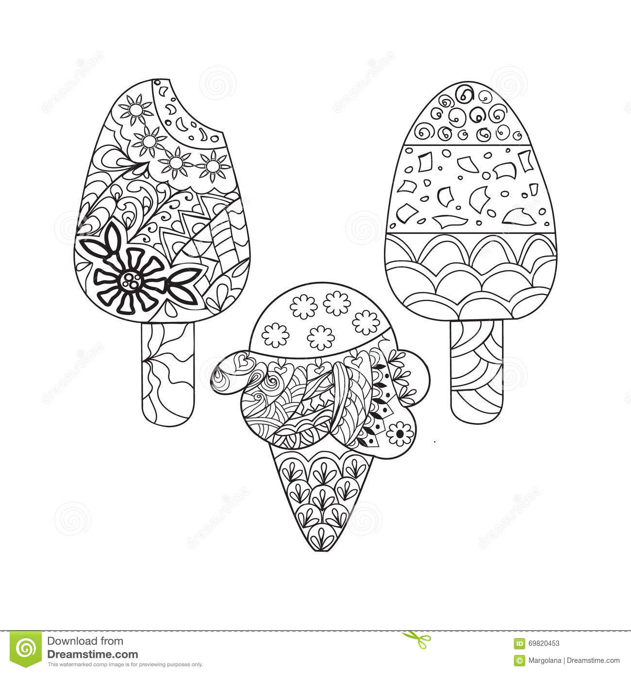 Vector Set Ice Cream For Coloring Book For Adult Stock