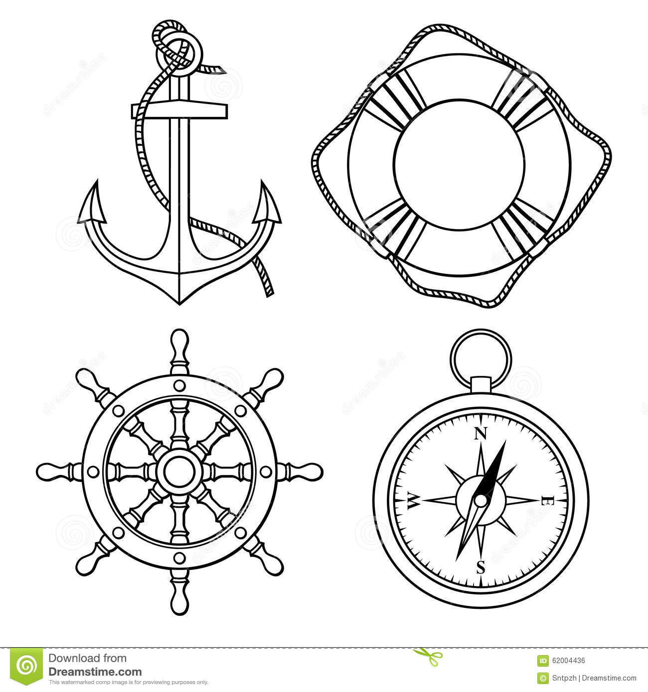 Vector Set With Isolated Anchor Lifebuoy Ships Wheel Compass Stock Vector