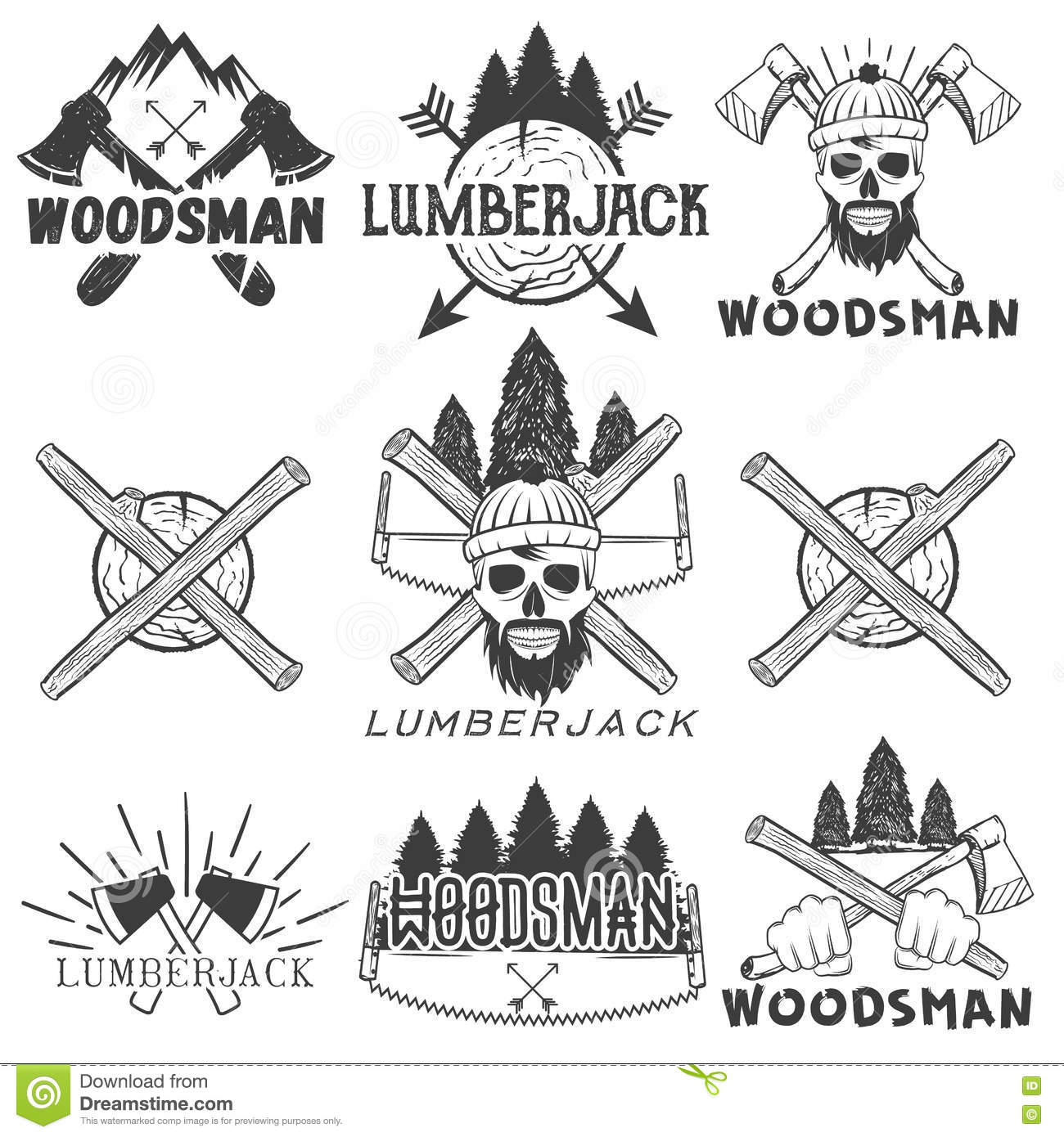 Lumberjack Vector Logo Woodcutter Or Forester Icon