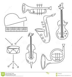 vector set with music instrument guitar piano saxophone cornet french horn violin drum line style [ 1300 x 1390 Pixel ]