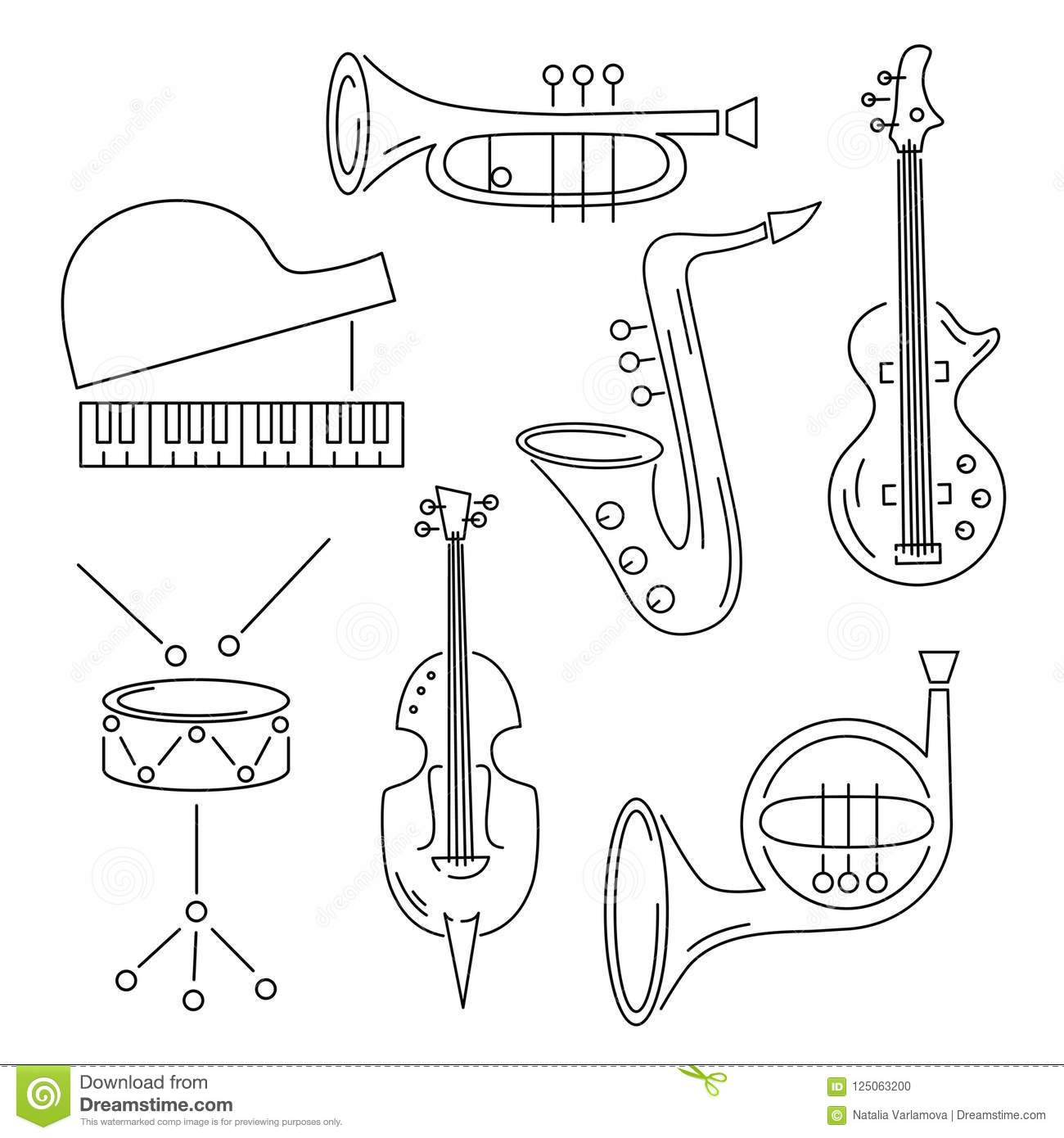 hight resolution of vector set with music instrument guitar piano saxophone cornet french horn violin drum line style