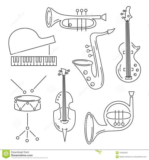 small resolution of vector set with music instrument guitar piano saxophone cornet french horn violin drum line style
