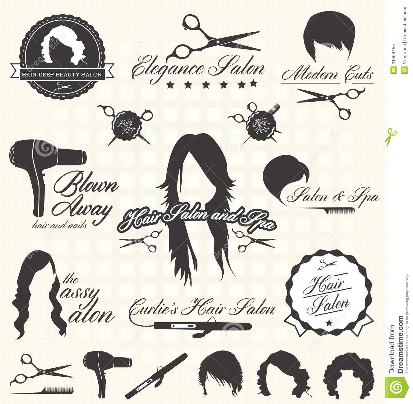Vector Set Retro Hair Salon Labels And Icons Stock Vector