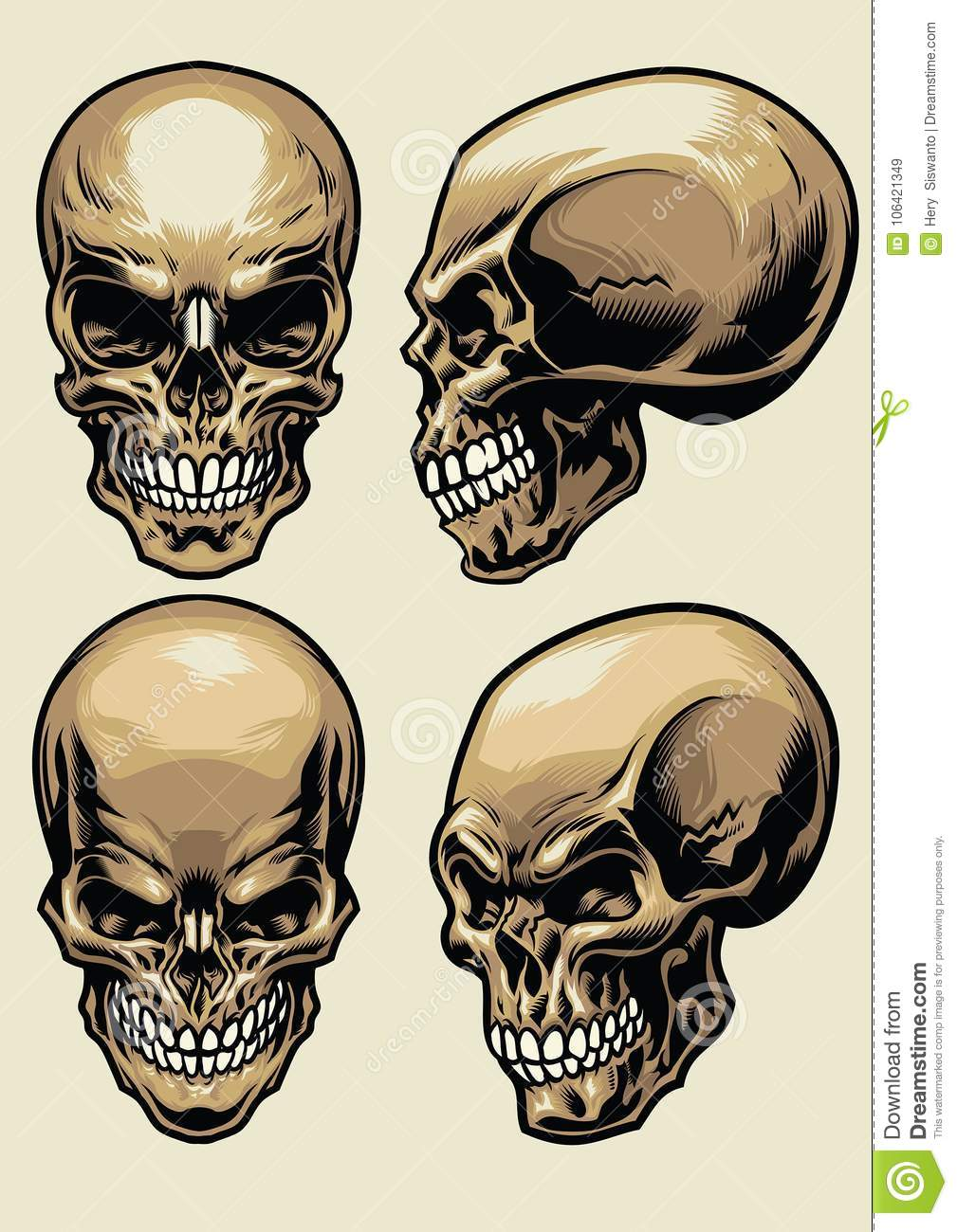 hight resolution of set of skull in detailed style