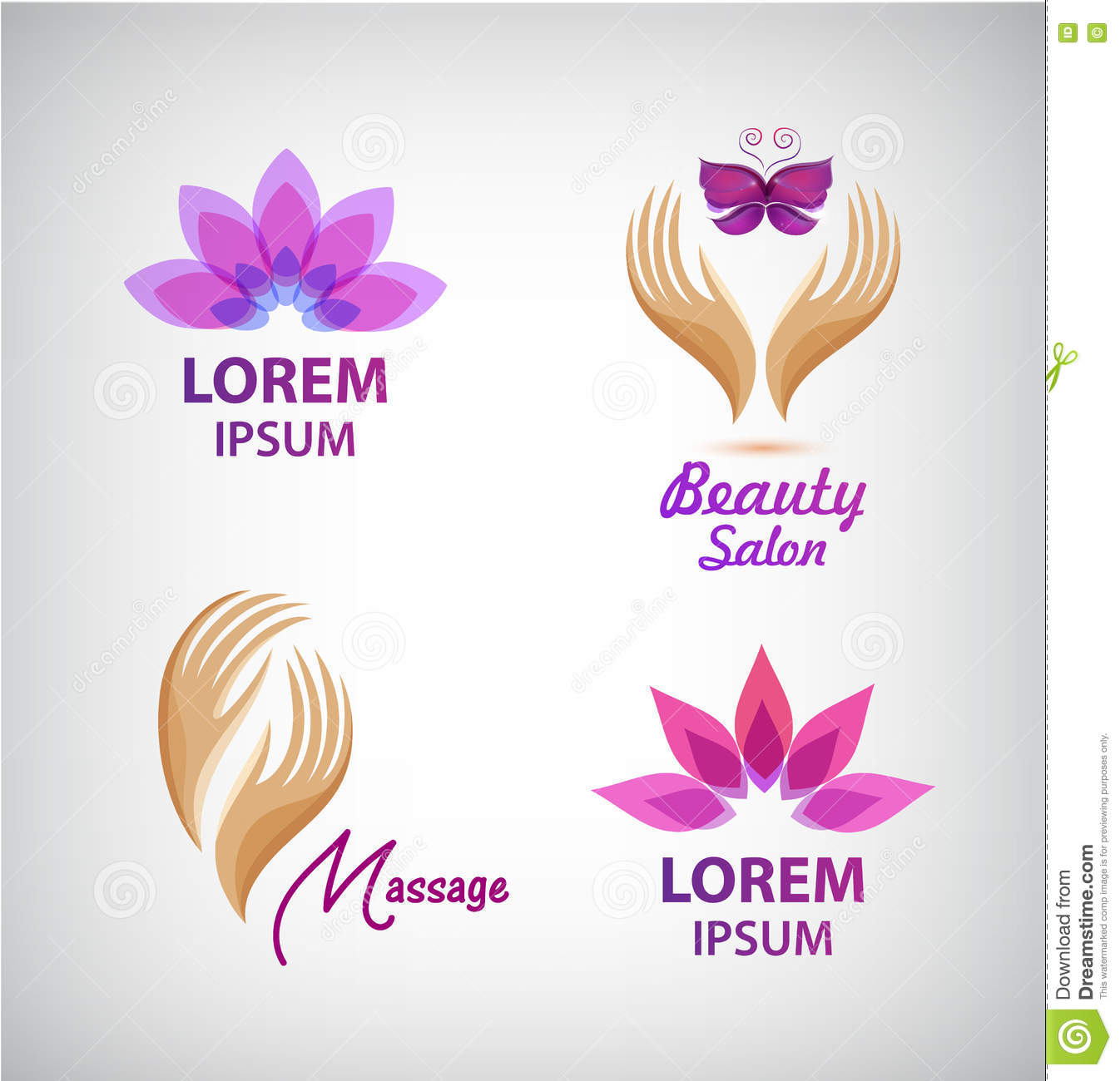 butterfly pedicure chair red parsons chairs lotus flower signs set vector illustration cartoondealer