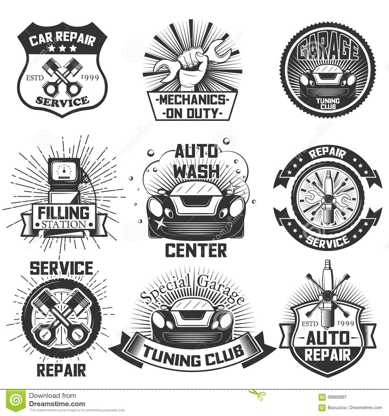 Vector Set Of Vintage Car Symbols And Logos Cartoon Vector