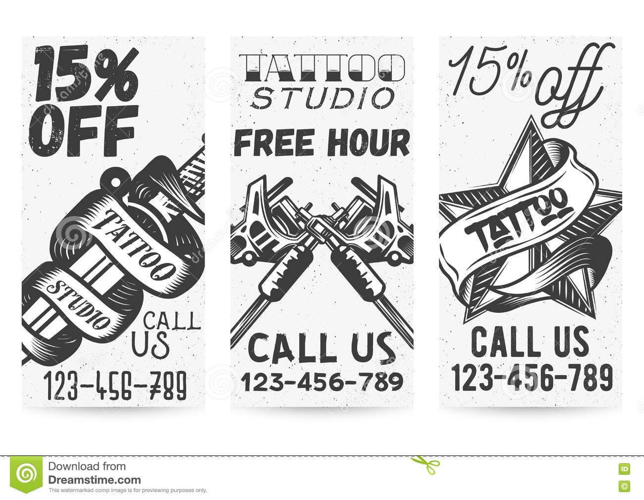 Tattoo Style Vector Banner Collection Vector Illustration