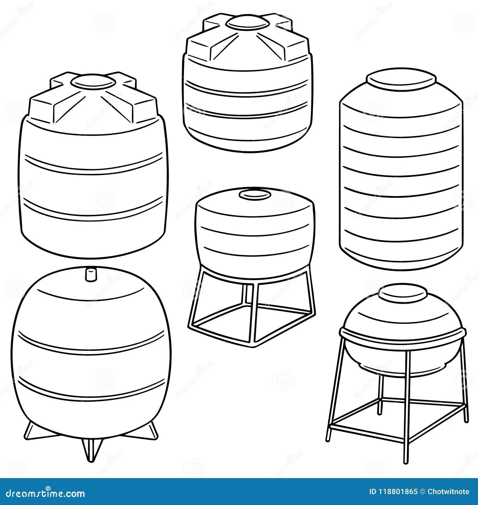 Vector Set Of Water Storage Tanks Stock Vector