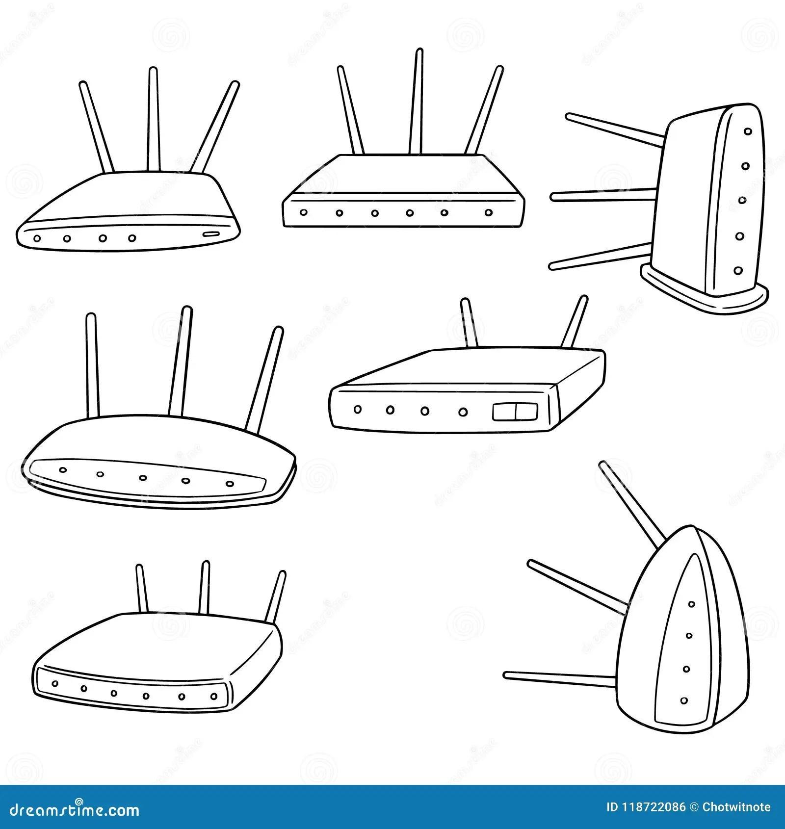 Vector Set Of Wireless Router Stock Vector